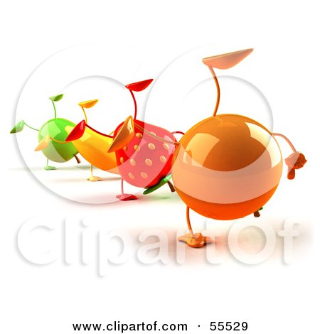 Royalty-Free (RF) Clipart Illustration of 3d Green Apple, Banana, Strawberry And Orange Characters Doing Cartwheels In A Line - Version 1 by Julos