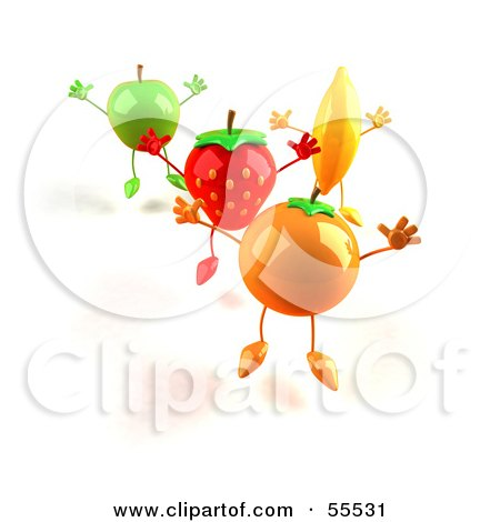 Royalty-Free (RF) Clipart Illustration of 3d Green Apple, Banana, Strawberry And Orange Characters Jumping In A Line - Version 1 by Julos
