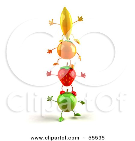 Royalty-Free (RF) Clipart Illustration of 3d Green Apple, Banana, Strawberry And Orange Characters Standing On Top Of Each Other - Version 2 by Julos
