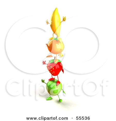 Royalty-Free (RF) Clipart Illustration of 3d Green Apple, Banana, Strawberry And Orange Characters Standing On Top Of Each Other - Version 1 by Julos