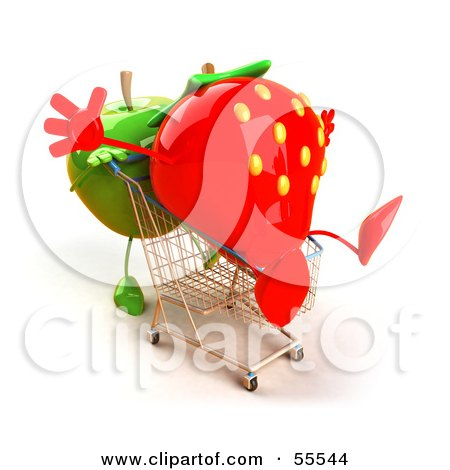 Royalty-Free (RF) Clipart Illustration of a 3d Green Apple Character Pushing A Strawberry In A Shopping Cart - Version 1 by Julos