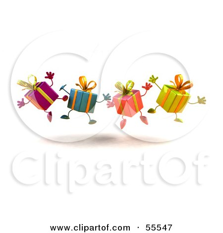 Royalty-Free (RF) Clipart Illustration of a Line Of Four 3d Present Characters Jumping - Version 3 by Julos