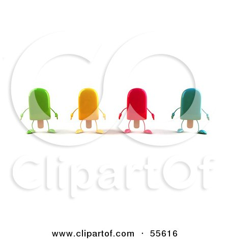 Royalty-Free (RF) Clipart Illustration of 3d Ice Lolly Characters Facing Front - Version 1 by Julos