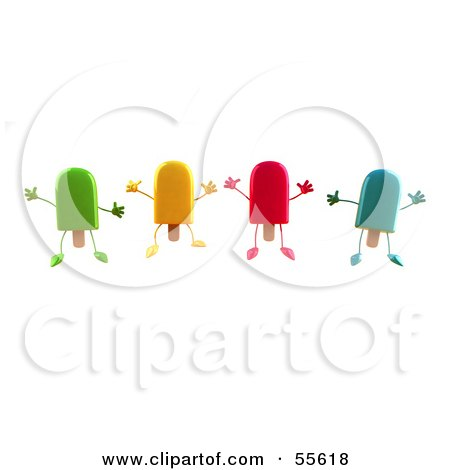 Royalty-Free (RF) Clipart Illustration of 3d Ice Lolly Characters Jumping - Version 1 by Julos