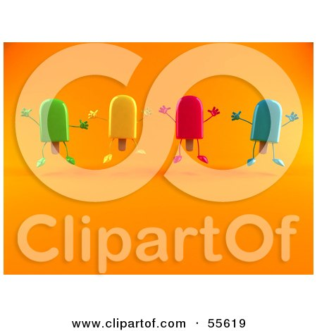 Royalty-Free (RF) Clipart Illustration of 3d Ice Lolly Characters Jumping - Version 2 by Julos