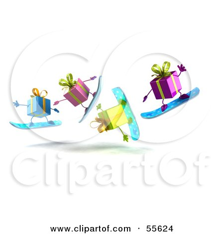 Royalty-Free (RF) Clipart Illustration of a Group Of Four 3d Present Characters Snowboarding - Version 6 by Julos