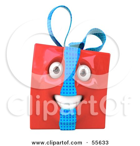 Royalty-Free (RF) Clipart Illustration of a Red 3d Present Head Character by Julos