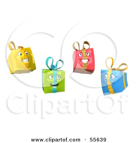 Royalty-Free (RF) Clipart Illustration of Four Yellow, Green, Red And Blue 3d Present Head Characters by Julos