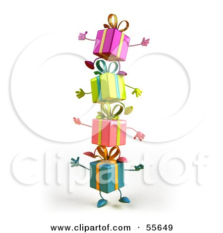 Royalty-Free (RF) Clipart Illustration of a Group Of Four 3d Present Characters Standing On Top Of Each Other - Version 1 by Julos