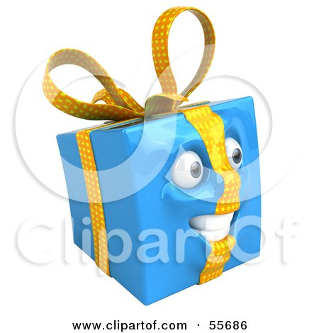 Royalty-Free (RF) Clipart Illustration of a Blue 3d Present Head Character - Version 2 by Julos