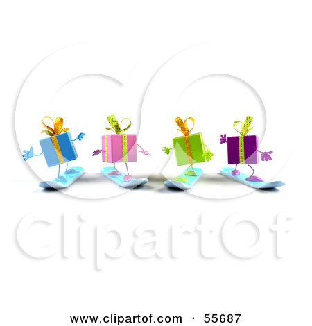 Royalty-Free (RF) Clipart Illustration of a Group Of Four 3d Present Characters Snowboarding - Version 4 by Julos