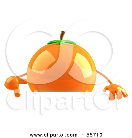 Royalty-Free (RF) Clipart Illustration of a 3d Naval Orange Character Pointing Down At And Standing Behind A Blank Sign by Julos