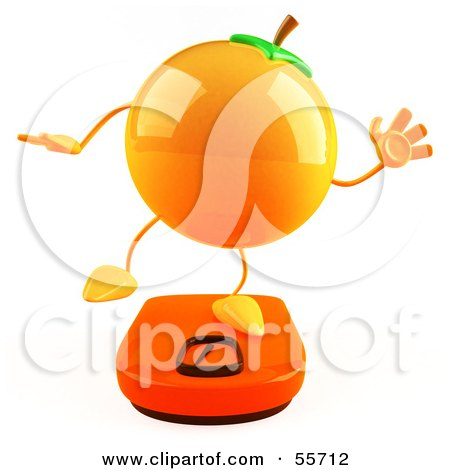Royalty-Free (RF) Clipart Illustration of a 3d Naval Orange Character Standing On A Scale - Version 3 by Julos