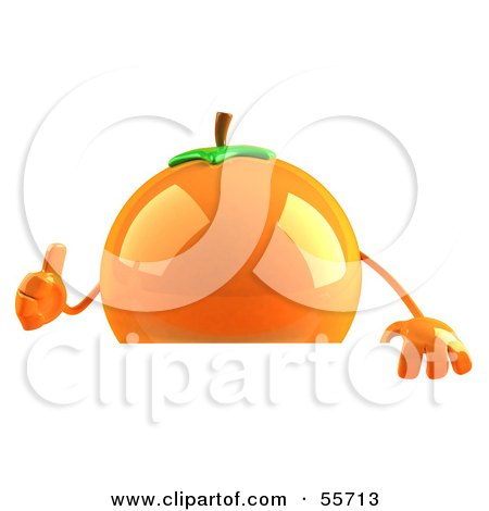 Royalty-Free (RF) Clipart Illustration of a 3d Naval Orange Character Giving The Thumbs Up And Standing Behind A Blank Sign by Julos