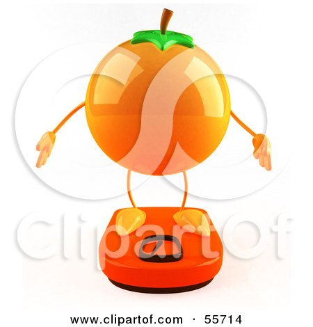 Royalty-Free (RF) Clipart Illustration of a 3d Naval Orange Character Standing On A Scale - Version 1 by Julos