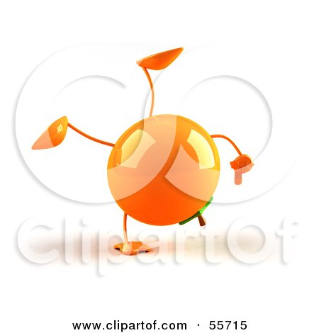 Royalty-Free (RF) Clipart Illustration of a 3d Naval Orange Character Doing A Cartwheel - Version 1 by Julos