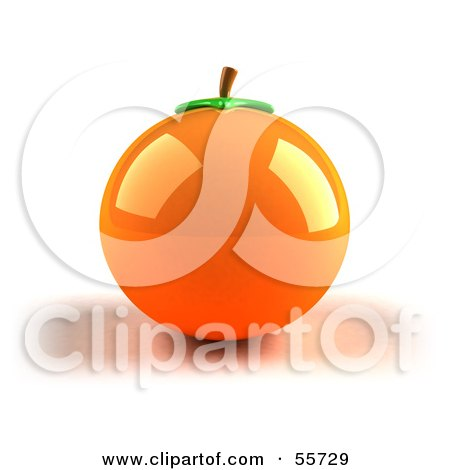 Royalty-Free (RF) Clipart Illustration of a Shiny 3d Naval Orange Fruit - Version 1 by Julos