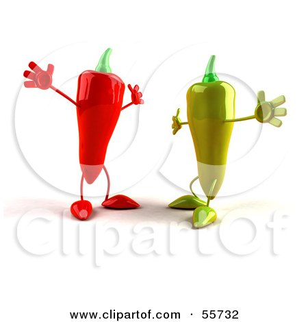 Royalty-Free (RF) Clipart Illustration of 3d Green And Red Chili Pepper Characters Going In For Hugs by Julos