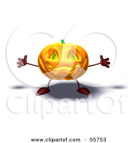 Royalty-Free (RF) Clipart Illustration of a 3d Pumpkin Character Holding His Arms Open - Version 1 by Julos