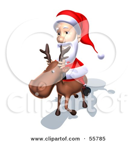Royalty-Free (RF) Clipart Illustration of a 3d Santa Character Riding A Reindeer - Version 6 by Julos