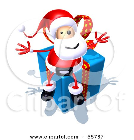 Royalty-Free (RF) Clipart Illustration of a 3d Santa Character Sitting On A Blue Present - Version 3 by Julos