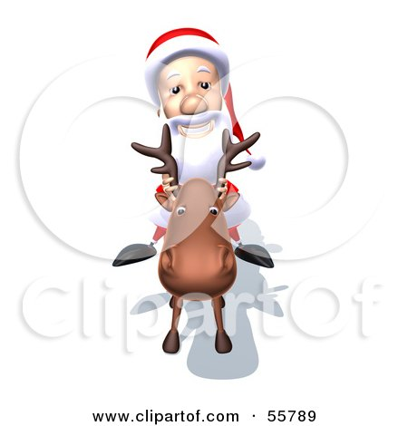 Royalty-Free (RF) Clipart Illustration of a 3d Santa Character Riding A Reindeer - Version 5 by Julos