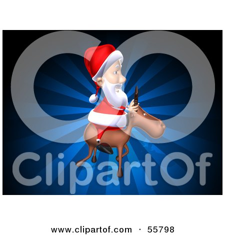 Royalty-Free (RF) Clipart Illustration of a 3d Santa Character Riding A Reindeer - Version 4 by Julos
