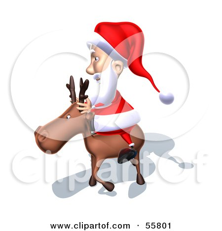 Royalty-Free (RF) Clipart Illustration of a 3d Santa Character Riding A Reindeer - Version 7 by Julos