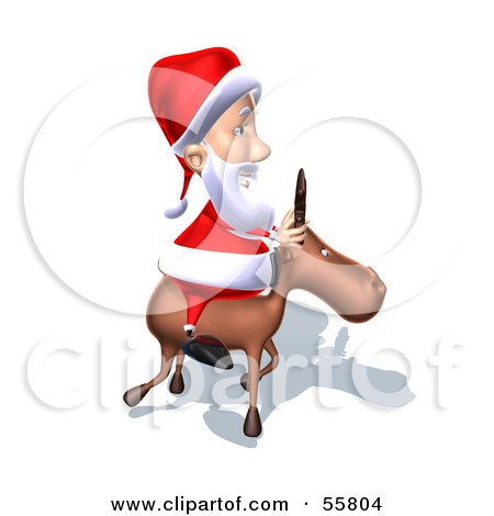Royalty-Free (RF) Clipart Illustration of a 3d Santa Character Riding A Reindeer - Version 8 by Julos