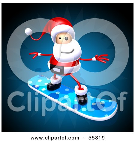 Royalty-Free (RF) Clipart Illustration of a 3d Santa Character Snowboarding - Version 1 by Julos