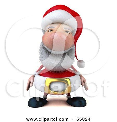Royalty-Free (RF) Clipart Illustration of a 3d Santa Character Facing Front- Version 1 by Julos