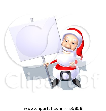 Royalty-Free (RF) Clipart Illustration of a 3d Santa Character Holding Up A Blank Sign On A Post - Version 4 by Julos