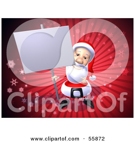 Royalty-Free (RF) Clipart Illustration of a 3d Santa Character Holding Up A Blank Sign On A Post - Version 3 by Julos