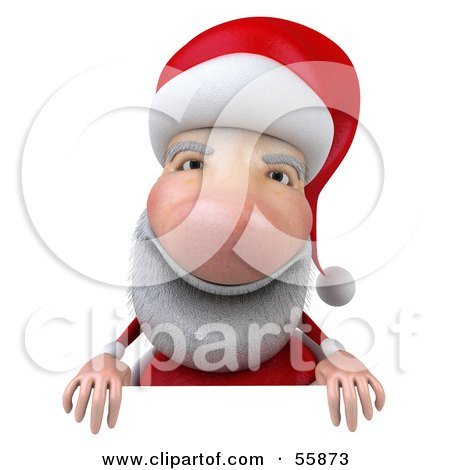 Royalty-Free (RF) Clipart Illustration of a 3d Santa Character Standing Behind A Blank Sign by Julos