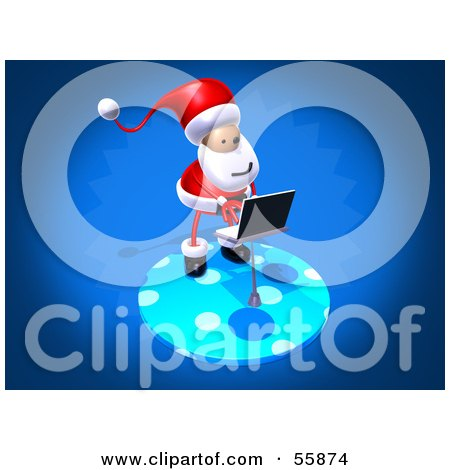 Royalty-Free (RF) Clipart Illustration of a 3d Santa Character Using A Laptop - Version 3 by Julos