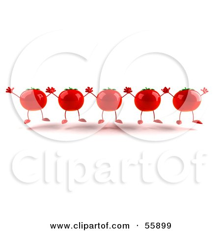 Royalty-Free (RF) Clipart Illustration of 3d Red Tomato Characters Holding Their Arms Up by Julos