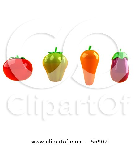 Royalty-Free (RF) Clipart Illustration of 3d Tomato, Green Bell Pepper, Carrot And Eggplant Veggies - Version 1 by Julos