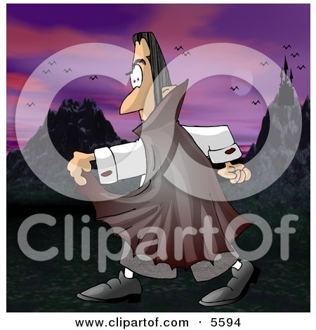 Count Dracula Walking Alone Outside in the Darkness Clipart Illustration by djart