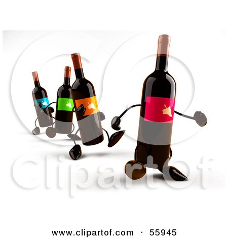 Royalty-Free (RF) Clipart Illustration of a Row Of 3d Wine Bottle Characters Walking Forward - Version 1 by Julos