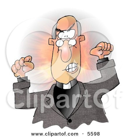 Angry Bald Preacher Throwing A Temper Tantrum In Church Clipart Illustration