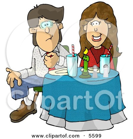 Uncomfortable Couple Sitting at a Dinner Table On Their First Date Clipart Illustration by djart