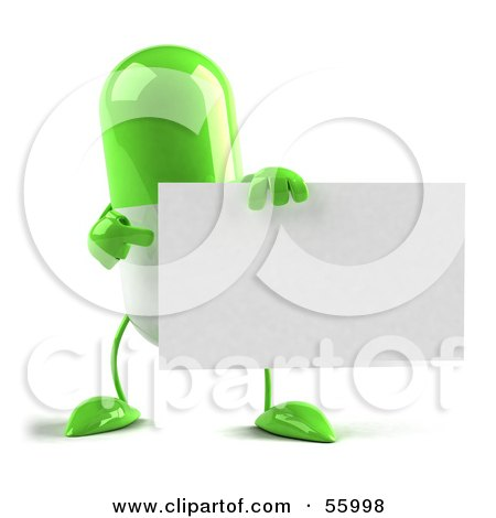 Royalty-Free (RF) Clipart Illustration of a Green 3d Pill Character Holding A Blank Business Card by Julos