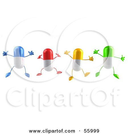 Royalty-Free (RF) Clipart Illustration of 3d Colorful Pill Characters Jumping - Version 1 by Julos