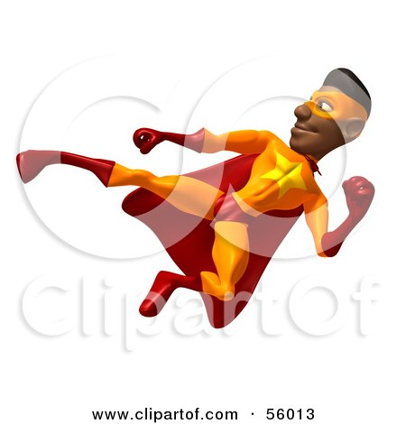Royalty-Free (RF) Clipart Illustration of a 3d Black Male Super Hero Doing A Flying Kick by Julos