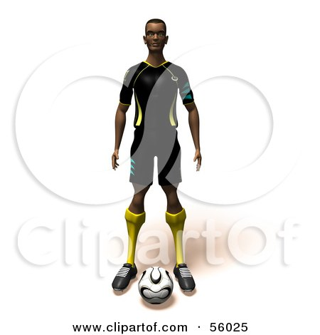 Royalty-Free (RF) Clipart Illustration of a 3d Athlete Man Standing With A Soccer Ball At His Feet- Version 1 by Julos