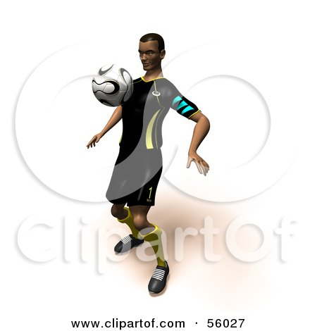 Royalty-Free (RF) Clipart Illustration of a 3d Athlete Man Bouncing A Soccer Ball Off Of His Chest- Version 1 by Julos