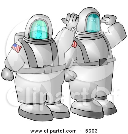 American Man and Woman, Astronauts, Traveling to Space On a NASA Shuttle Clipart Illustration by djart