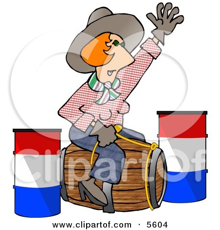 Professional Rodeo Cowgirl Riding a Wooden Barrel Clipart Illustration by djart