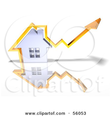 Royalty-Free (RF) Clipart Illustration of a 3d Chrome Home With An Orange Arrow Going Over The Top - Version 3 by Julos