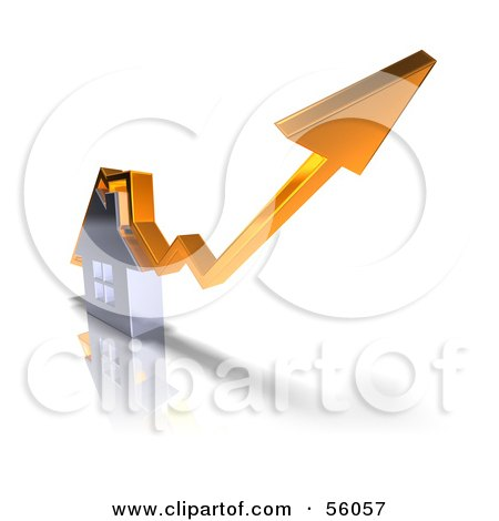 Royalty-Free (RF) Clipart Illustration of a 3d Chrome Home With An Orange Arrow Going Over The Top - Version 1 by Julos